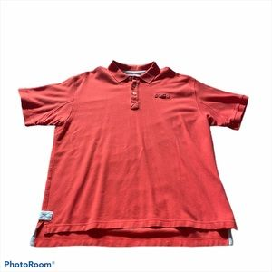Red Orvis thick cotton polo shirt